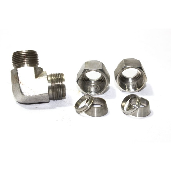 Ss reducing elbow union connector compression double