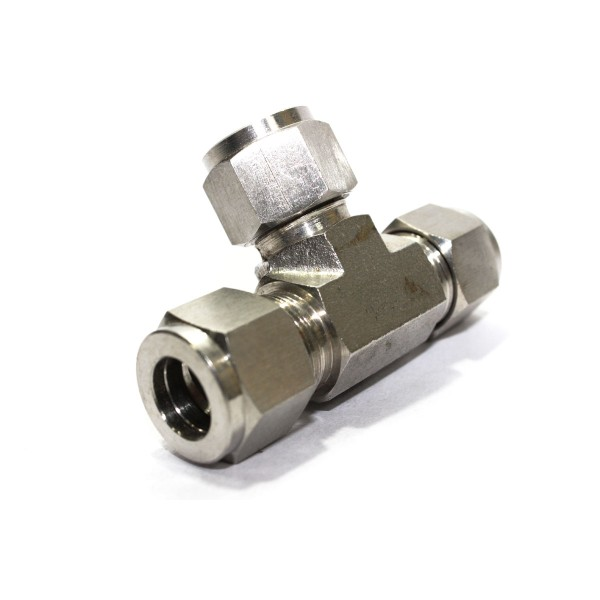 Ss tee equal connector compression double ferrule od