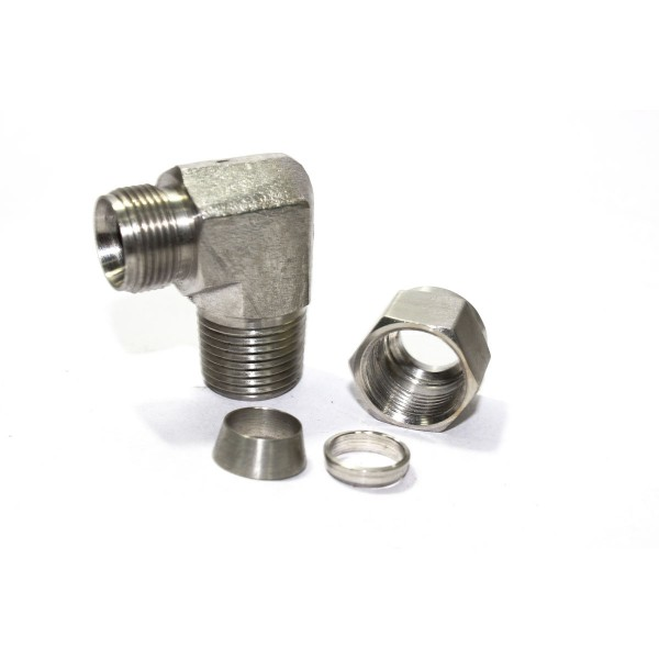 Ss male elbow connector compression double ferrule od